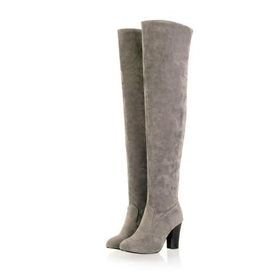 Flock High Heels Over the Knee Boots for Women 1919