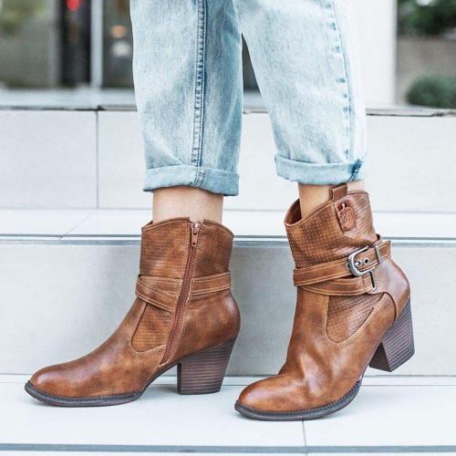 Plus Size Chic Leather Zipper Chunky Heel Ankle Booties