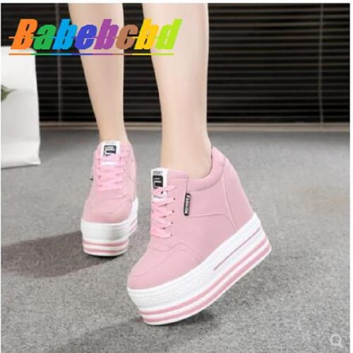cuteshoeswearBai Tan Nei Heightening Women's Shoes Spring and Summer 2019 Small White Shoes with Shallow Mouth, Thick Bottom, Air Permeabilit