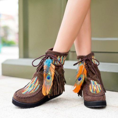 Fringed Feather Embroidered Booties