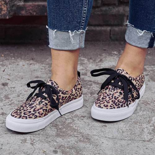 Women Casual Canvas Sneakers Leopard print Slip-on Shoes