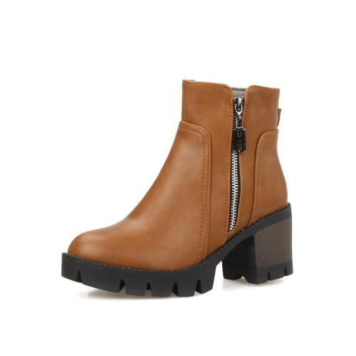 Women Shoes Round Head Zipper Platform Short Boots
