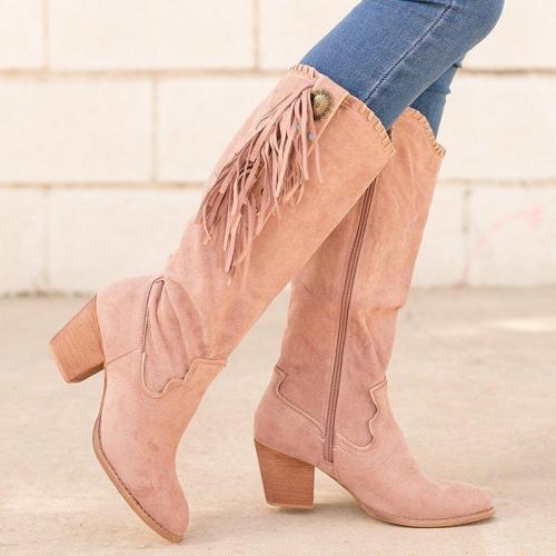 Vintage Faux Suede Rivet Block Heel Zipper Knee-High Boots