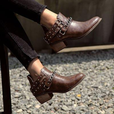 Brown Round Toe Med (3-8Cm) Chunky Heel Women Boots