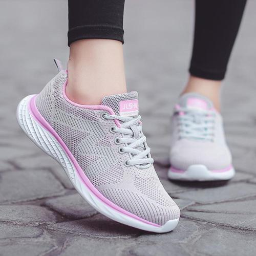 Womens Casual Mesh Fabric Flat Heel Lace-Up Sneakers