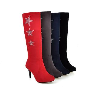 Rhinestone Pointed Toe High Heels Tall Boots for Women 2129