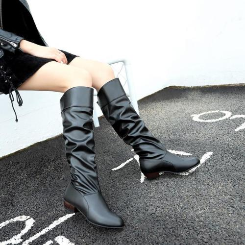 Casual PU Chunky Heel Knee-High Women Slip-On Boots