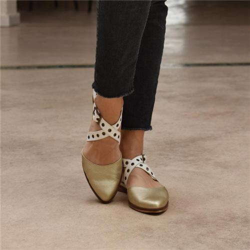 Pointed Strap Flat Sandals