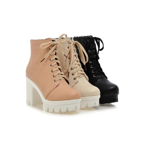 Lace Up Platform Chunky Heels Short Boots Plus Size Women Shoes 8666