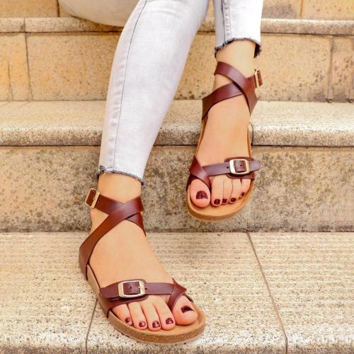 Cuteshoeswear CuteshoeswearLitthing PU Leather Summer Flat Women Sandals Feminina Belt Buckle Shoes Female Comfort Roman Style Sandals Plus Size 35-43