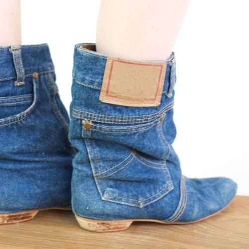 Plus Size 80s Fashion Town and Country Denim Pocket  Boots Blue