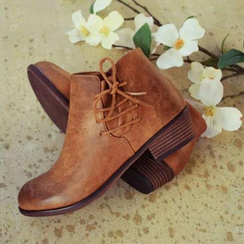 Women Fashion Side Bandage Comfortable Short Ankle Booties