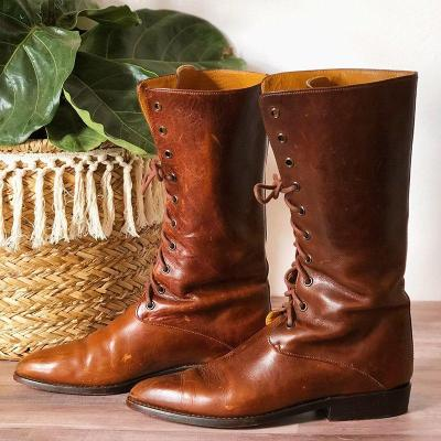 Plus Size Vintage Leather Lace Up Flat Heel Wide Calf Fall Boots