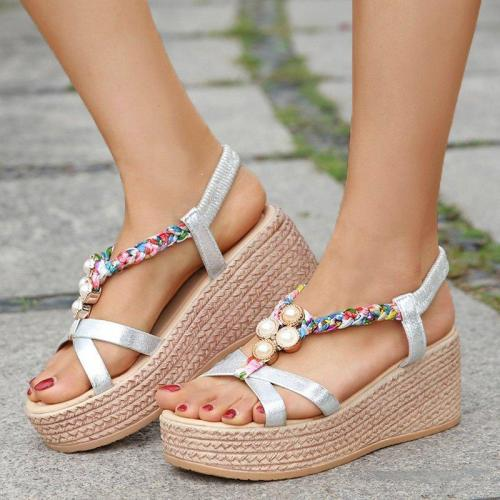 Rhinestone Embellished Open Toe Elastic Band Wedge Sandals