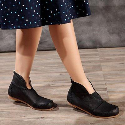 Women Casual Soft Leather Slip-On Ankle Boots