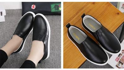 2018 Autumn Women Leather Loafers Fashion ballet flats sliver white black Shoes Woman Slip On loafers boat shoes Moccasins
