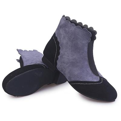 Slip On Color Joint Faux Suede Ankle Boots