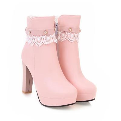 Women Shoes High Heels Lace Pearl Thick Heel Platform Short Boots