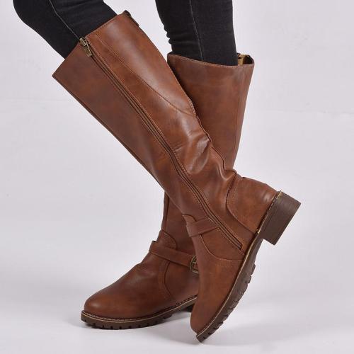 Zipper Pu Winter Boots Knee-High Vintage Boots