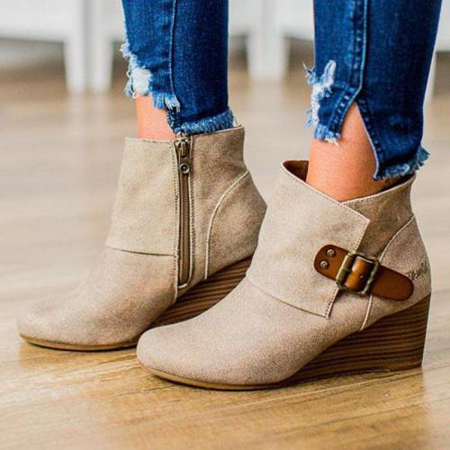 Wedge Heel Side Zipper Buckle Strap All Season Ankle Booties