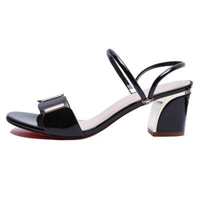 2020 Summer Women Sandals Fashion Brand Women Shoes Black White Red Women Square Heels Sandals A1089