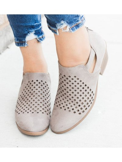 Hollow-out Block Heel Ankle Booties Casual Low Heel Boots with Zipper