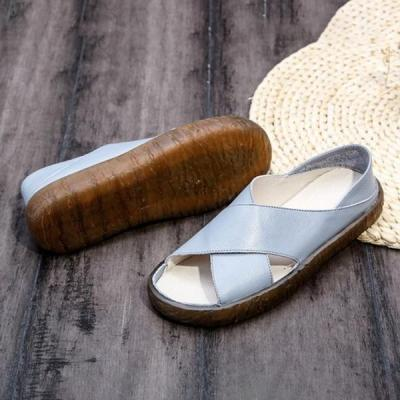 Women Faux Leather Sandals Casual Comfort Peep Toe Shoes