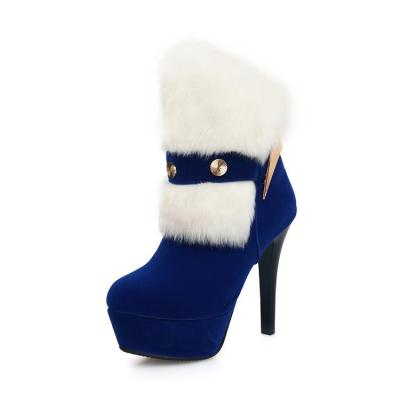 Fur Platform Stiletto Heel Short Boots Plus Size Women Shoes 5651