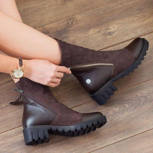 Fashion Side Zipper Low Heel Fall Motorcycle Boots