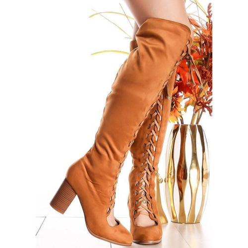 Plus Size Lace Up Suede Chunky Heel Knee Boots