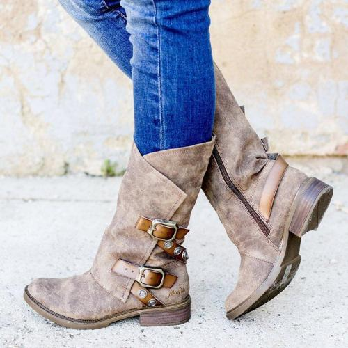 Vintage Chunky Heel Adjustable Buckle Side Zipper Mid-calf Boots