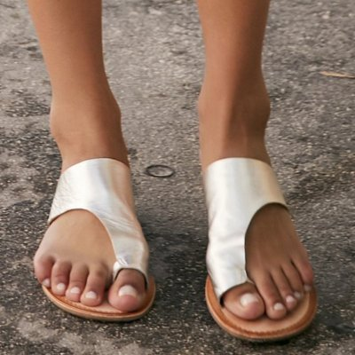 Women Summer Beach Slippers Artificial Leather Flat Flip-flops