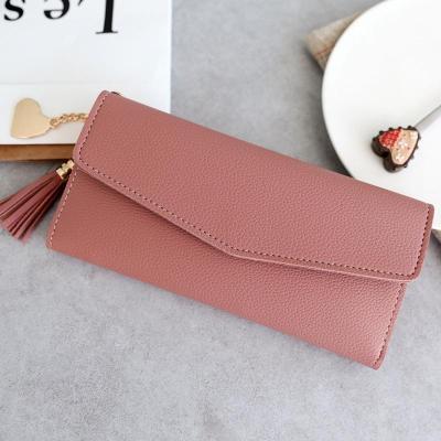 2020 Fashion Wallet Women Tassel Heart Simple Zipper Purses Long Purse Section Clutch Wallet Soft PU Leather Money Bag Portfel