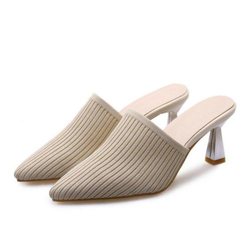 Summer Casual Spool Heel Pointed Toe Slippers