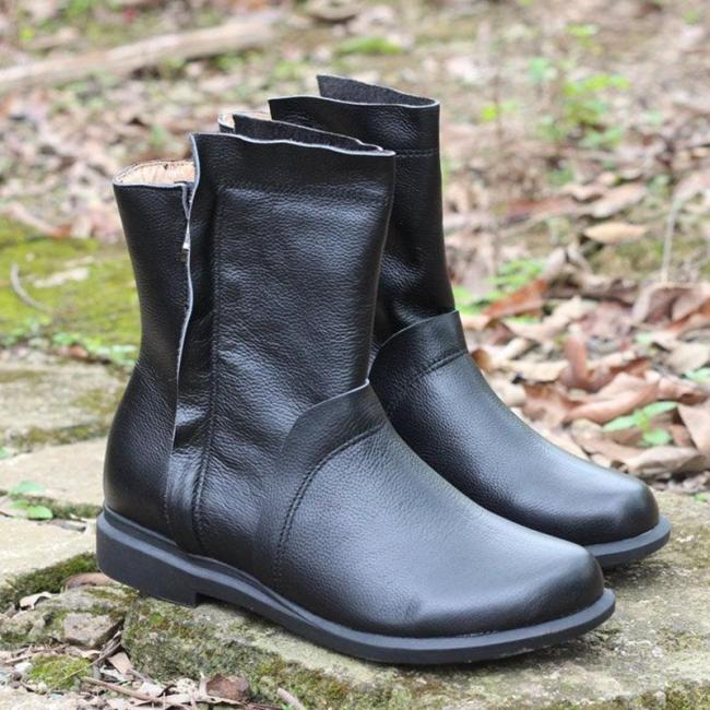 Comfortable Oxford Boots Mid-Calf Low Heel PU Leather Boots