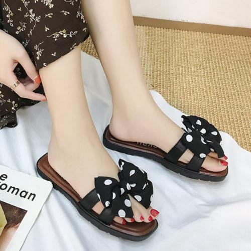 Slip On Flat Heel Bowknot Women Slippers