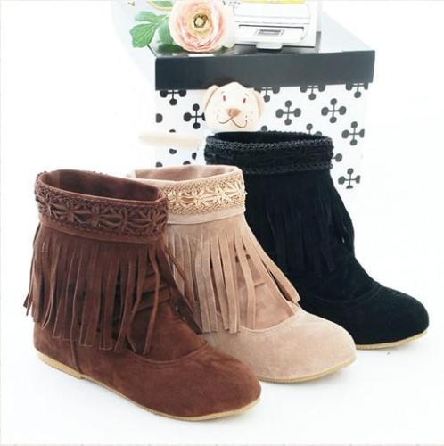 Women Tassel Short Boots Plus Size Autumn and Winter Shoes 4843