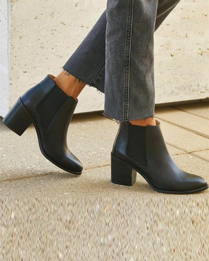 Solid Chunky Chelsea Ankle Boots