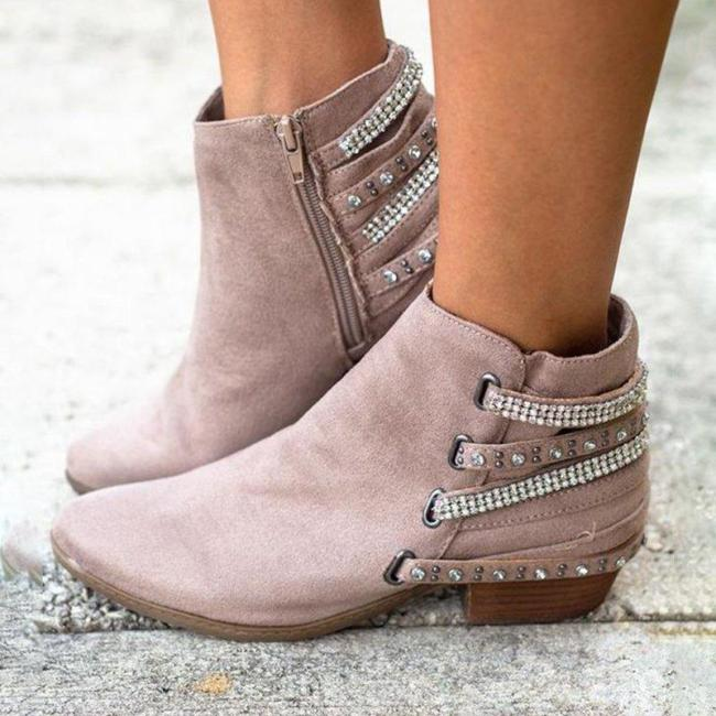 Plus Size Rhinestone Suede Chunky Heel Ankle Boots