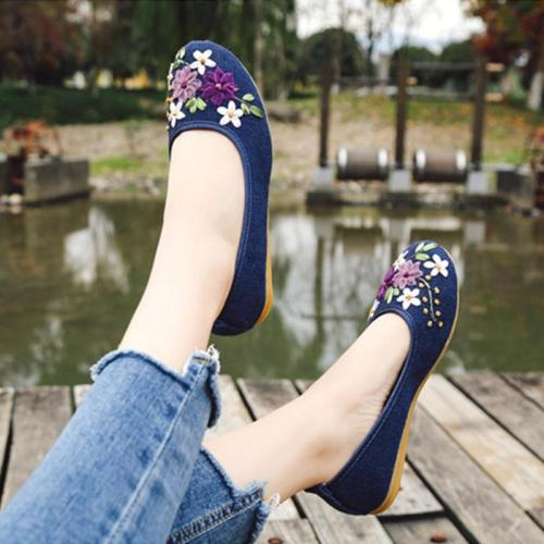 Handmade Vintage Chinese Style Flat Shoes Women Embroidered Flower Flats Flax Comfort Slip On Loafers Ladies Light Moccasins