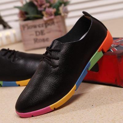 plus size Women shoes 2020 fashion genuine leather casual shoes woman flats shoes comfortable lace-up women footwear walking