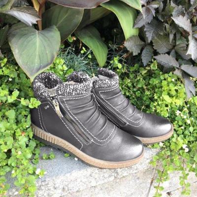 Woman Zipper Flat Heel Round Toe Fabric Winter Ankle Boots