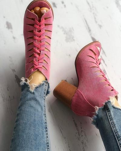 Denim Lace-up Hollow Out Chunky Heeled Sandals