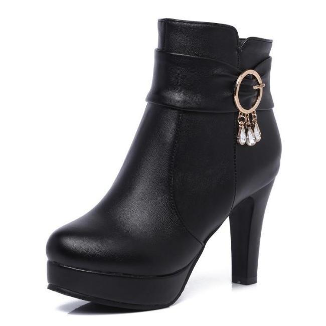 Autumn Winter Short Platform Boots High Heels 33-43 Women's Ankle Boots