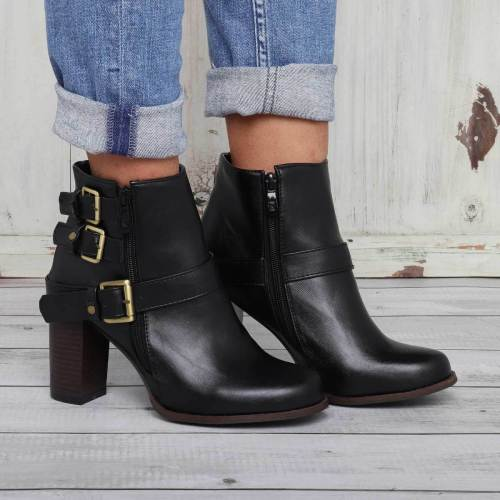 Women Chunky Heel Buckle Outdoor Boots Casual Boots