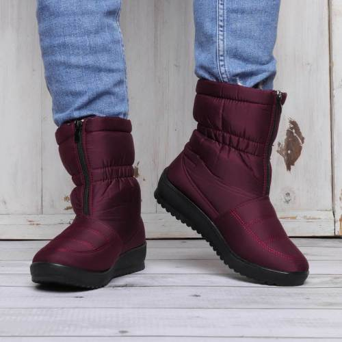 Women's Flat Heel Round Toe Waterproof Warm Snow Boots