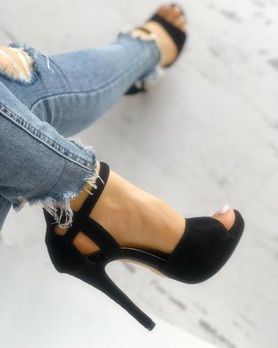 Solid Suede Buckled Cutout Thin Heeeled Sandals