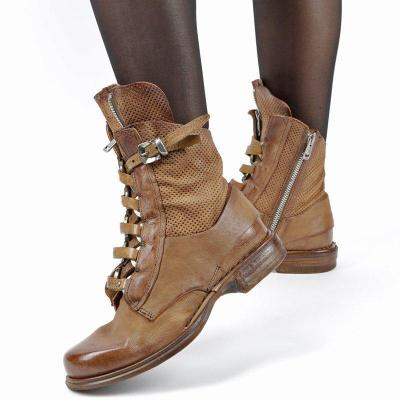 Adjustable Buckle Low Heel Artificial Leather Zipepr Ankle Boots