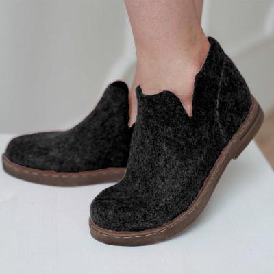Women Winter Casual Slip-On Woolen Ankle Boots