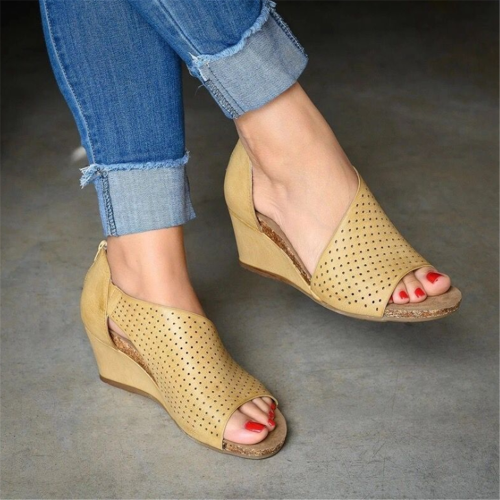Fashion Versatile Back Zipper   Fish Mouth Wedge Sandals
